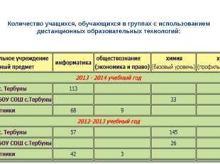 Количество учащихся, обучающихся в группах с использованием дистанционных обр