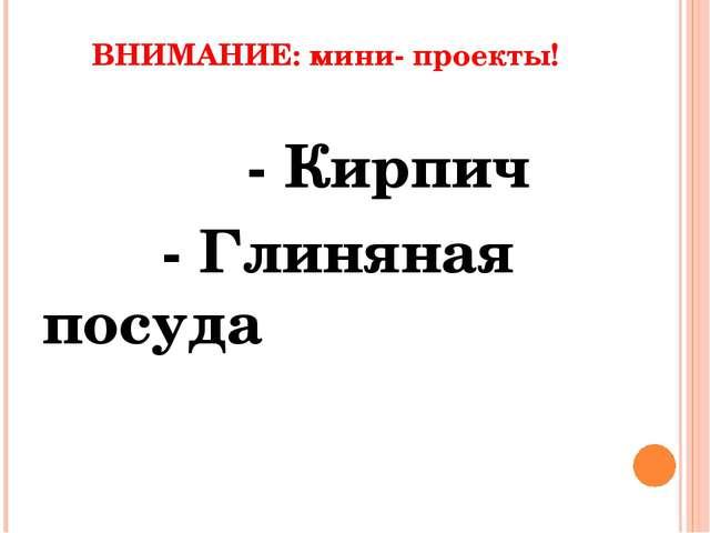 ВНИМАНИЕ: мини- проекты! - Кирпич - Глиняная посуда