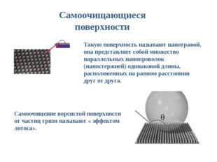 Самоочищающиеся поверхности Такую поверхность называют нанотравой, она предст