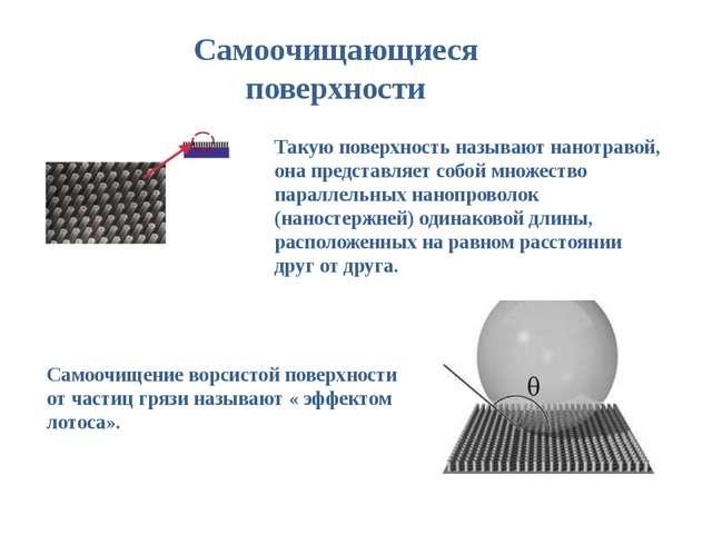 Самоочищающиеся поверхности Такую поверхность называют нанотравой, она предст...