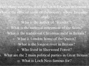 How many countries does the United Kingdom consist of? What is the official n