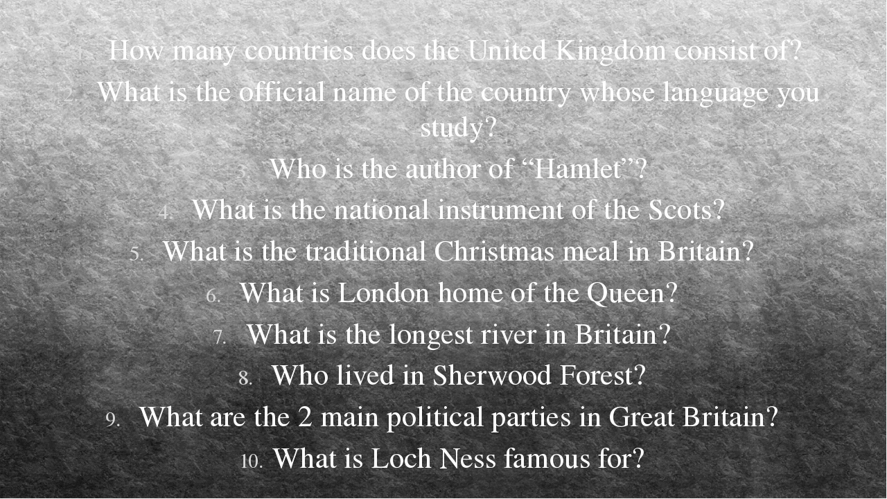 How many countries does the United Kingdom consist of? What is the official n...