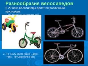 Разнообразие велосипедов В 20 веке велосипеды делят по различным признакам: 1