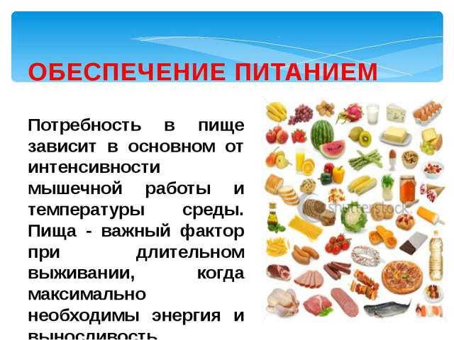 ОБЕСПЕЧЕНИЕ ПИТАНИЕМ Потребность в пище зависит в основном от интенсивности м...