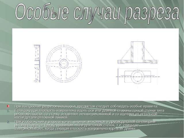 При построении разрезов некоторых предметов следует соблюдать особые правила:...