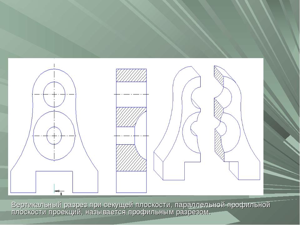 Вертикальный разрез при секущей плоскости, параллельной профильной плоскости...