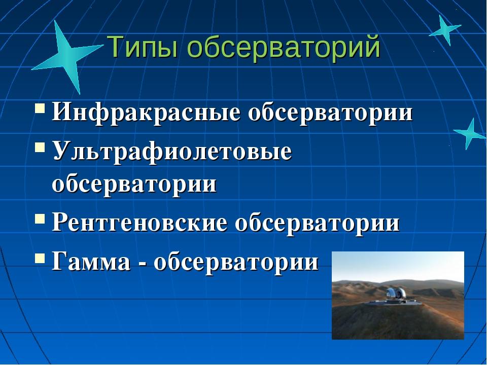 Типы обсерваторий Инфракрасные обсерватории Ультрафиолетовые обсерватории Рен...