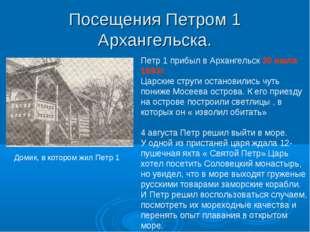 Посещения Петром 1 Архангельска. Петр 1 прибыл в Архангельск 30 июля 1693г. Ц