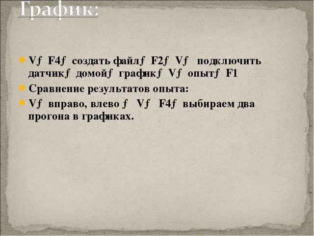 V→F4→создать файл→F2→V→ подключить датчик→домой→график→V→опыт→F1 Сравнение ре...