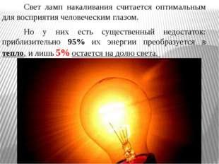 Свет ламп накаливания считается оптимальным для восприятия человеческим гла