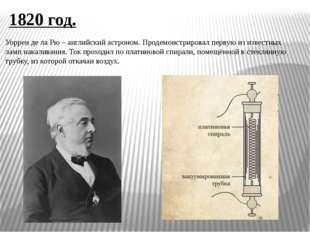 1820 год. Уоррен де ла Рю – английский астроном. Продемонстрировал первую из
