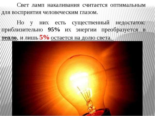 Свет ламп накаливания считается оптимальным для восприятия человеческим гла...
