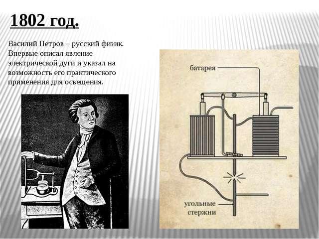 1802 год. Василий Петров – русский физик. Впервые описал явление электрическо...