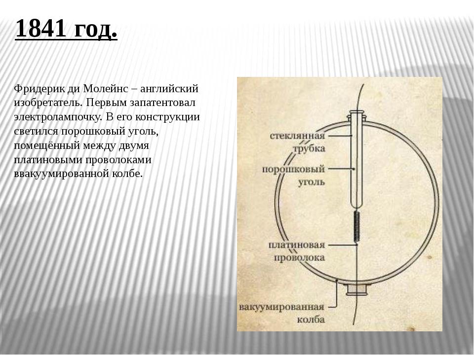 1841 год. Фридерик ди Молейнс – английский изобретатель. Первым запатентовал...