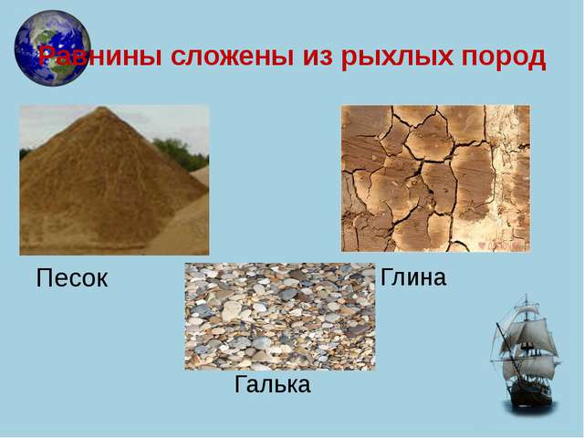 Равнины сложены из рыхлых пород Песок Галька Глина