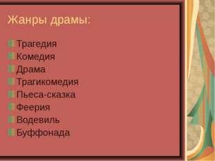 Жанры драмы: Трагедия Комедия Драма Трагикомедия Пьеса-сказка Феерия Водевиль
