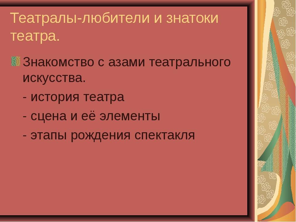 Театралы-любители и знатоки театра. Знакомство с азами театрального искусства...