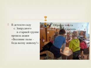 В детском саду с. Запрудного в старшей группе прошла акция «Весенние палы – б