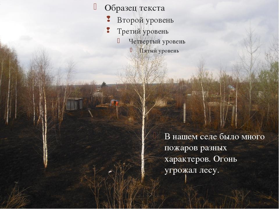 В нашем селе было много пожаров разных характеров. Огонь угрожал лесу. 