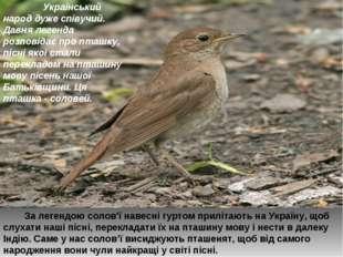 Український народ дуже співучий. Давня легенда розповідає про пташку, пісні