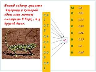 =1 Решив задачу ,узнаете ящерицу у которой один глаз может смотреть в верх ,