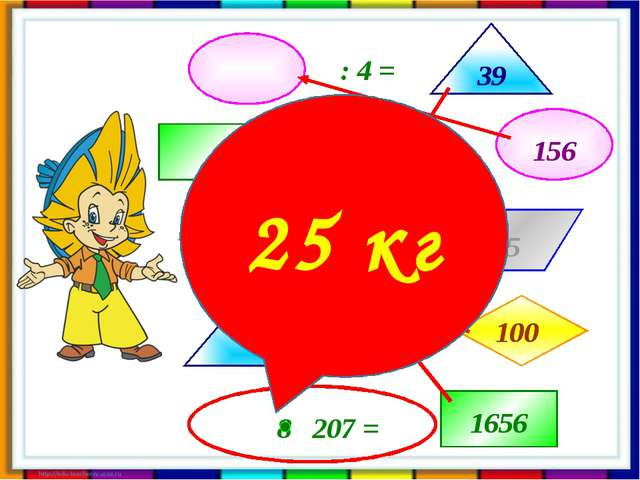 1656 1656 156 156 39 39 100 100 25 25 кг : 4 = - 1500 = : 4 = + 61 = Все вычи...