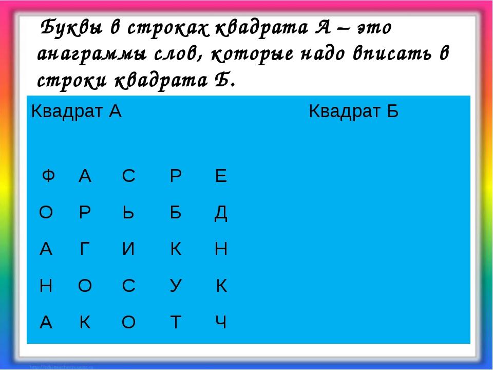 Буквы в строках квадрата А – это анаграммы слов, которые надо вписать в стро...