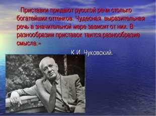 «Приставки придают русской речи столько богатейших оттенков. Чудесная вырази