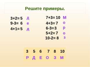 Решите примеры. 5 6 5 10 7 3 7 8 Д е д М о р о з 3+2= 9-3= 4+1= 7+3= 4+3= 6-3
