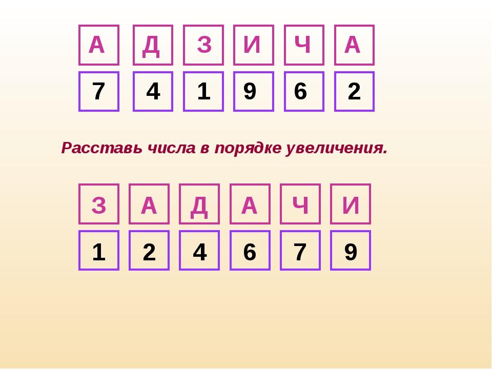 З А Д А Ч И 7 4 1 9 6 2 И Ч А Д А З 1 2 4 6 7 9 Расставь числа в порядке увел...