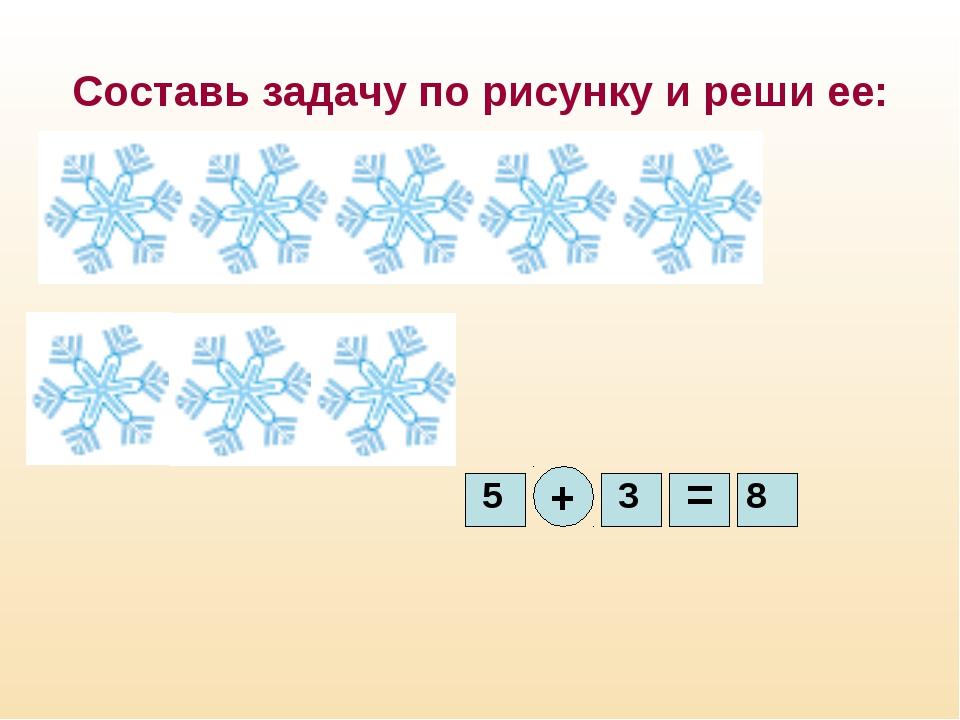 Составь задачу по рисунку и реши ее: 5 + 3 = 8