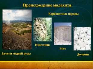 Происхождение малахита Залежи медной руды Карбонатные породы Известняк Мел Д