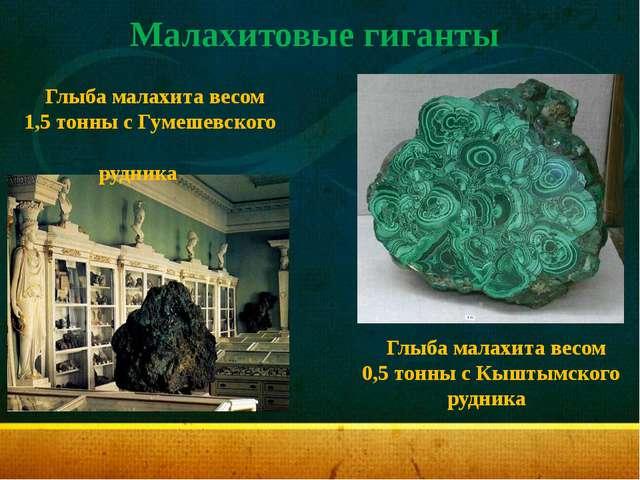 Малахитовые гиганты Глыба малахита весом 1,5 тонны с Гумешевского рудника Глы...