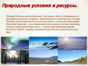 Природные условия и ресурсы. Рельеф Польши разнообразный. На севере, вдоль по