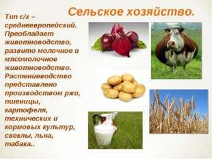 Сельское хозяйство. Тип с/х – среднеевропейский. Преобладает животноводство,