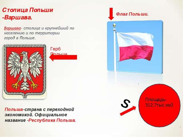 Столица Польши -Варшава. Флаг Польши. Герб Польши. Польша-страна с переходной...