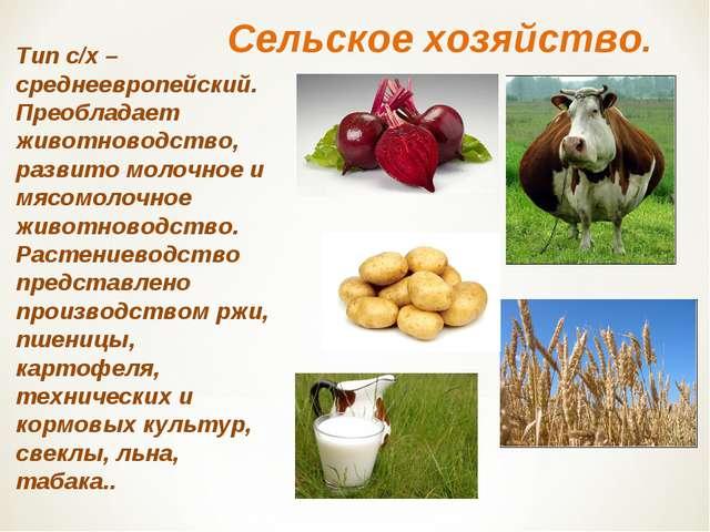 Сельское хозяйство. Тип с/х – среднеевропейский. Преобладает животноводство,...