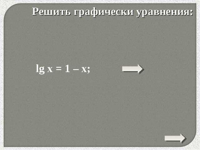 * Решить графически уравнения: lg x = 1 – x;