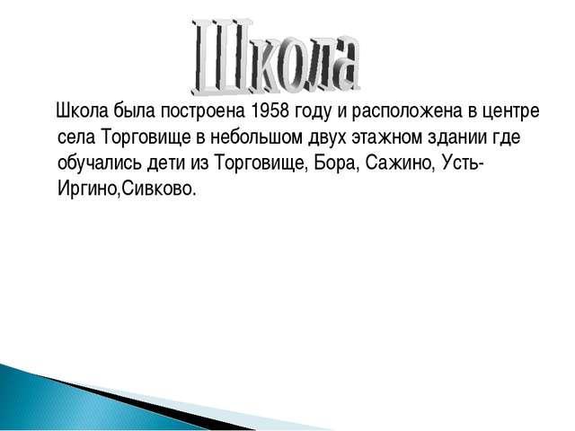 Школа была построена 1958 году и расположена в центре села Торговище в небол...