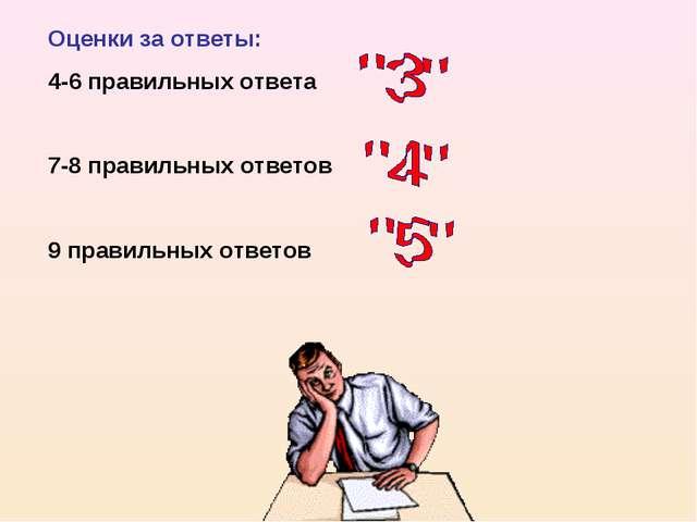 Оценки за ответы: 4-6 правильных ответа 7-8 правильных ответов 9 правильных о...