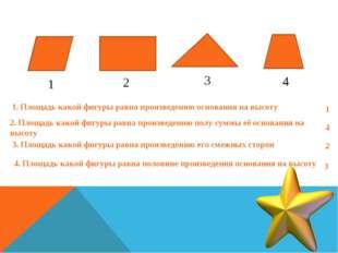 1 2 3 4 1. Площадь какой фигуры равна произведению основания на высоту 1 2. П
