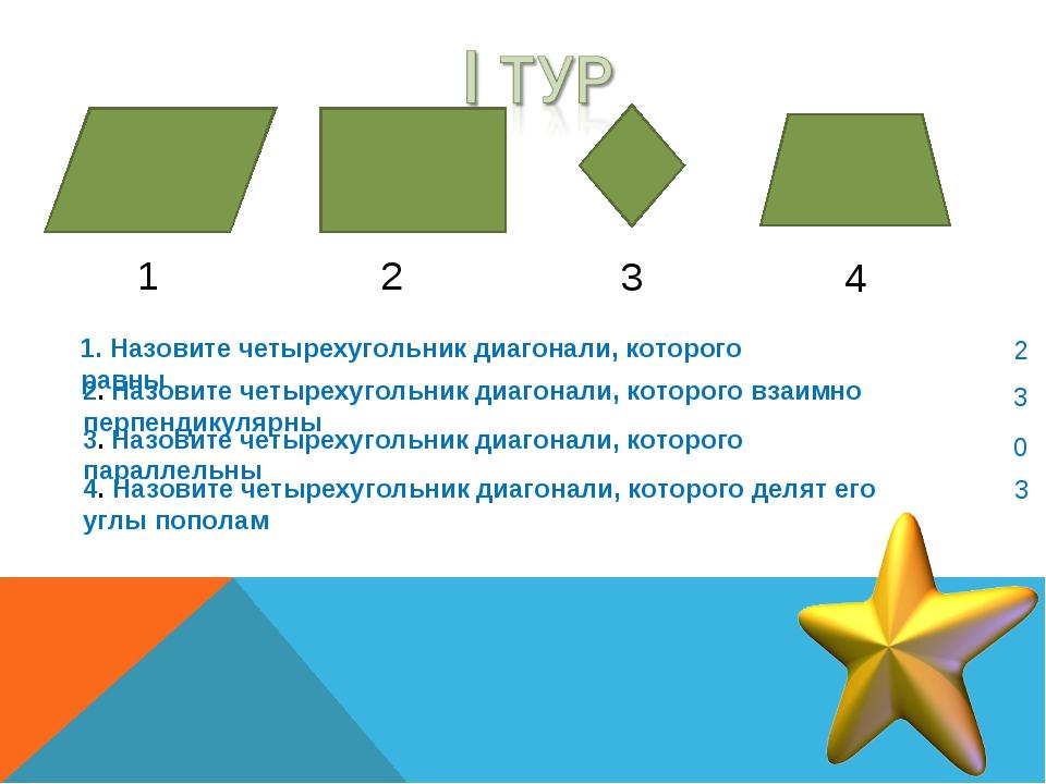 1 2 3 4 1. Назовите четырехугольник диагонали, которого равны 2. Назовите чет...