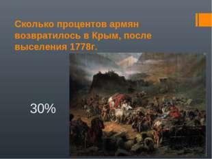 Сколько процентов армян возвратилось в Крым, после выселения 1778г. 30%