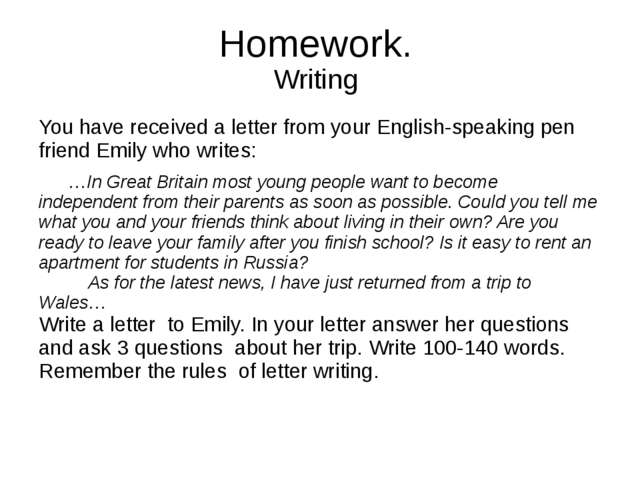 Write a letter to your english pen friend about a new tradition in your class