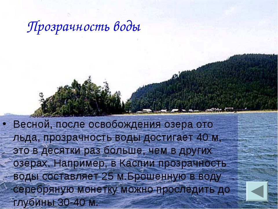 Прозрачность воды Весной, после освобождения озера ото льда, прозрачность вод...