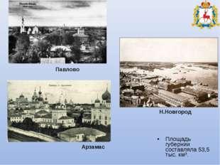 Площадь губернии составляла 53,5 тыс. км². Павлово Н.Новгород Арзамас