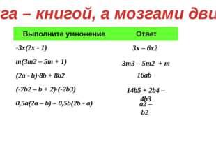 Книга – книгой, а мозгами двигай 3x – 6x2 16ab 14b5 + 2b4 – 4b3 a2 – b2 3m3 –