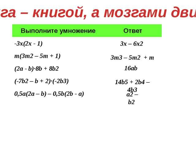 Книга – книгой, а мозгами двигай 3x – 6x2 16ab 14b5 + 2b4 – 4b3 a2 – b2 3m3 –...