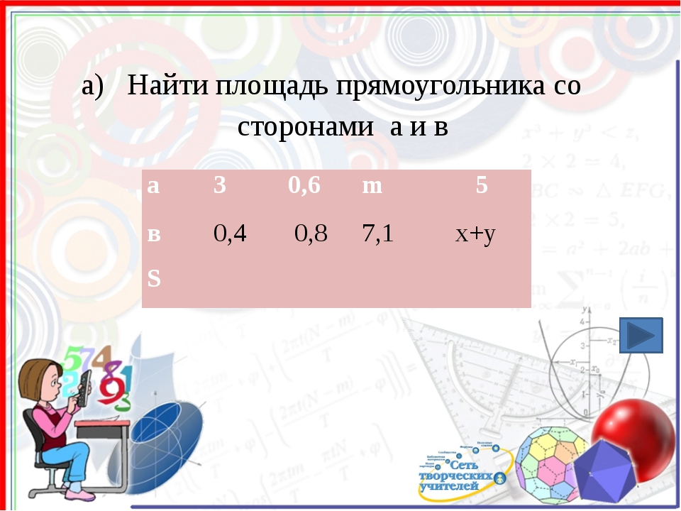 а) Найти площадь прямоугольника со сторонами а и в а 3 0,6 m 5 в 0,4 0,8 7,1...