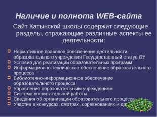 Наличие и полнота WEB-сайта Сайт Катынской школы содержит следующие разделы,